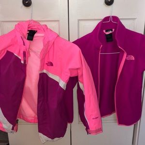 The north face girls triclimate shell and lining.